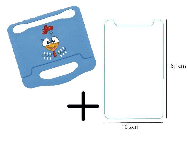 Capa Azul Multilaser Galinha Pintadinha Emborrachada +  Película de Vidro Tablet 3G 7 Polegadas