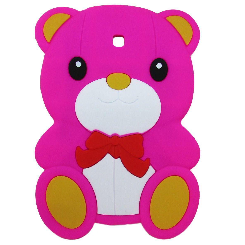 Capa Case emborrachada Infantil ursinho Pink Samsung 7 Polegadas P3200 / P3210