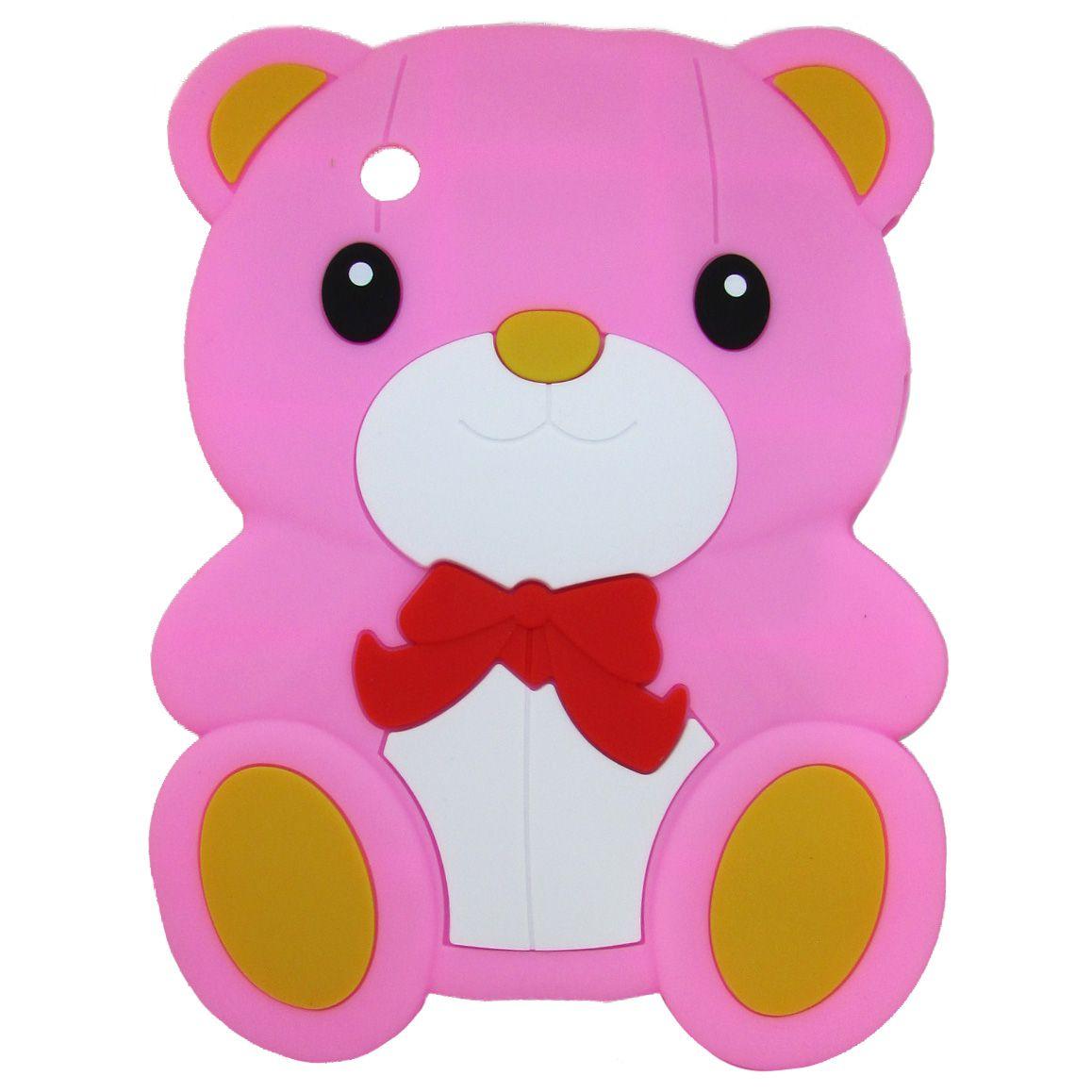 Capa Case emborrachada Infantil ursinho Rosa claro Samsung 7 Polegadas P3100 / P3110