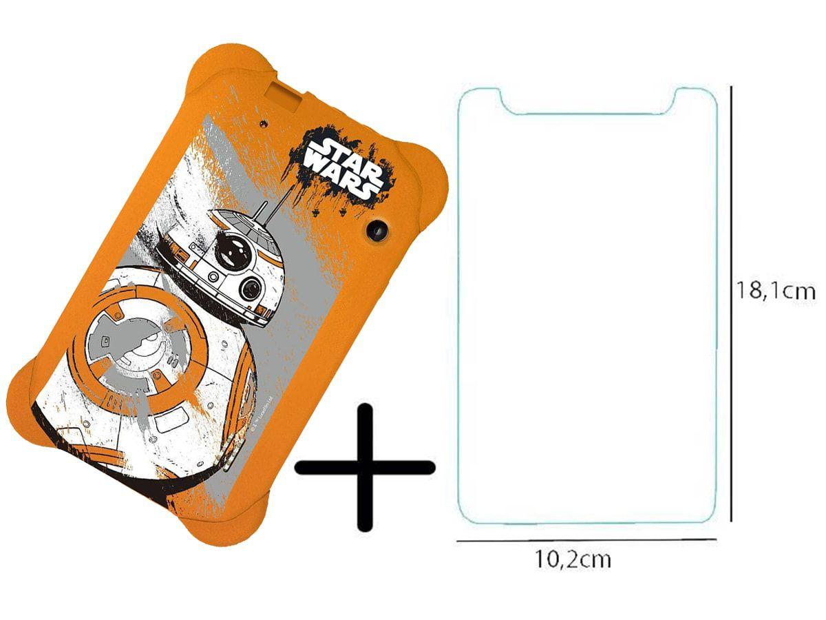 Capa Laranja Star Wars Multilaser Emborrachada +  Película de Vidro Tablet 3G 7 Polegadas