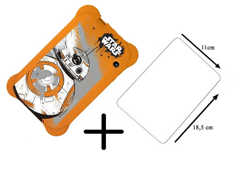 Capa Laranja Star Wars Multilaser Emborrachada +  Película de Vidro Tablet 7 Polegadas