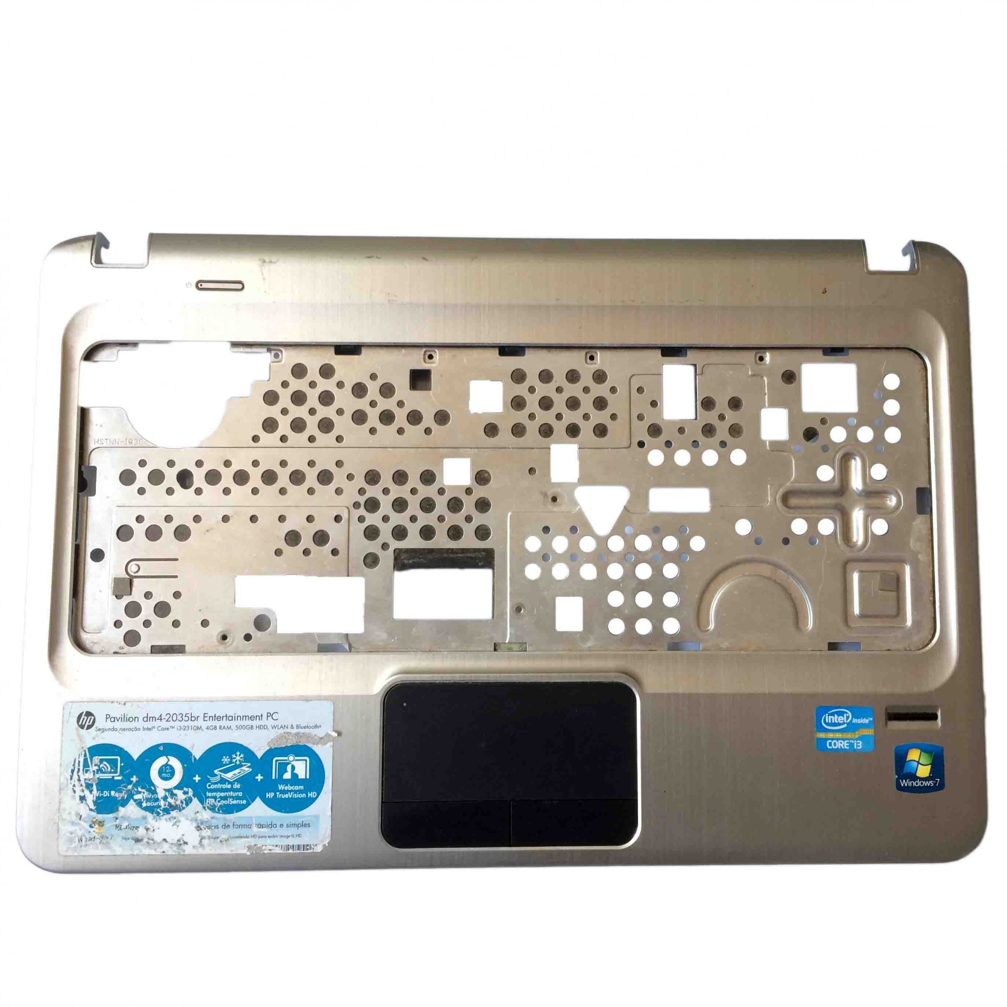 Carcaça Base Superior + TouchPad + Biometria + Flats Notebook HP Pavilion dm4-2035br PN:6070b0487902 - Retirado