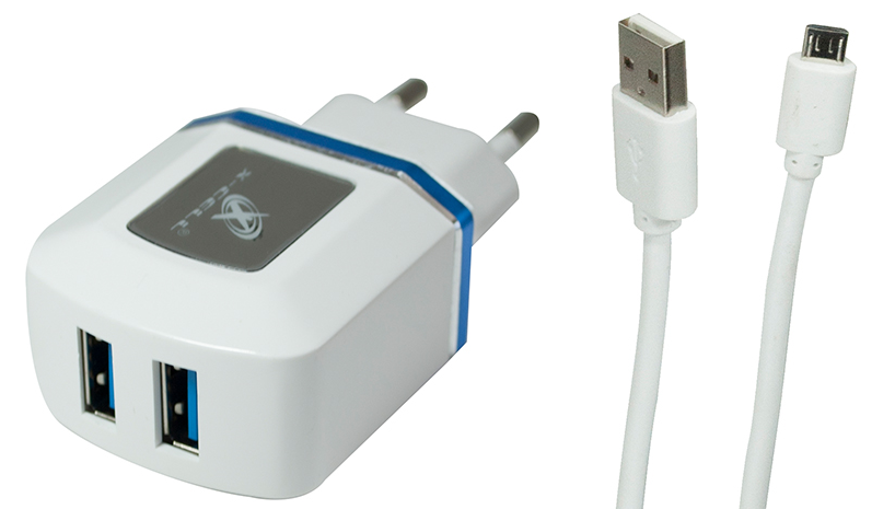 Carregador de parede universal V8 micro usb com 2 entradas USB Azul XC-V8-UR.7