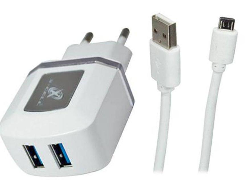 Carregador de parede universal V8 micro usb com 2 entradas USB Prata XC-V8-UR.7