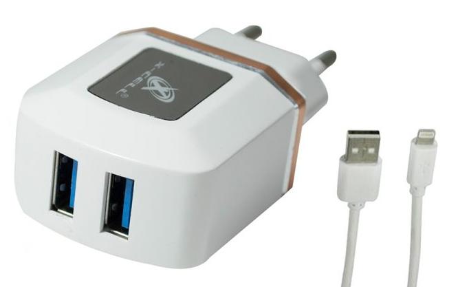 Carregador de parede universal com 2 entradas USB Rosa XC-IPH5/6-UR.8