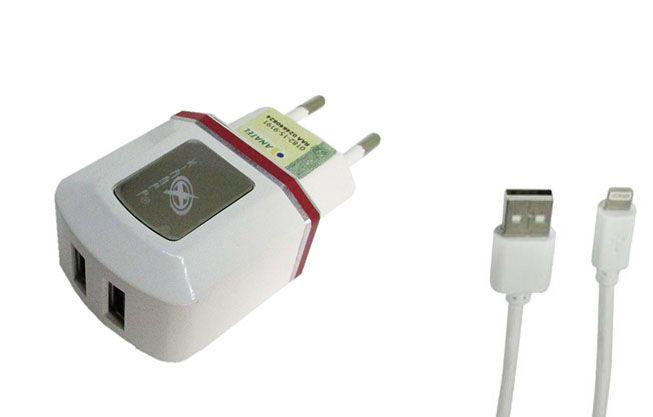 Carregador de parede universal com 2 entradas USB Vermelho XC-IPH5/6-UR.8