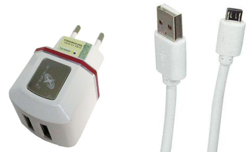Carregador de parede universal V8 micro usb com 2 entradas USB Vermelho XC-V8-UR.7
