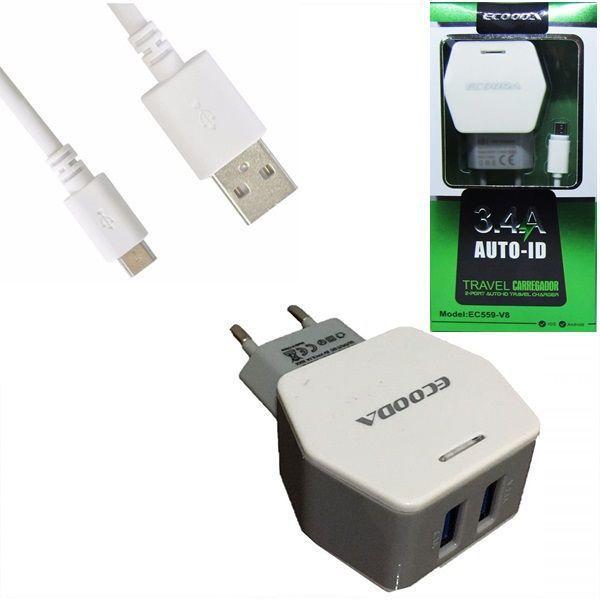 Carregador e Cabo Micro USB (V8) 3.4A ECOODA EC559-V8