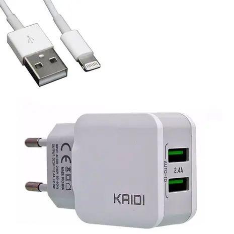 Carregador Iphone Lightning Kaidi Branco - Kd-301a