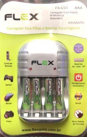 Carregador de Pilhas AA AAA 9V  Com 4 pilhas AAA Flex Fx-c03