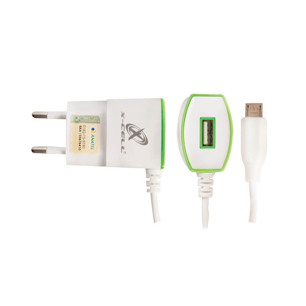 Carregador Rápido para Celular Micro USB V8 5V 1,5A X-CELL XC-V8/LED