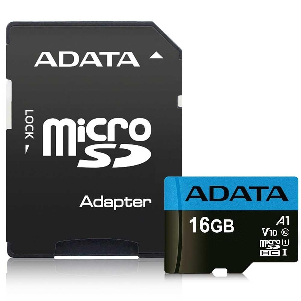 Cartão de Memória Adata MicroSDHC 16 GB Classe 10 com Adaptador - AUSDH16GUICL10-RA1