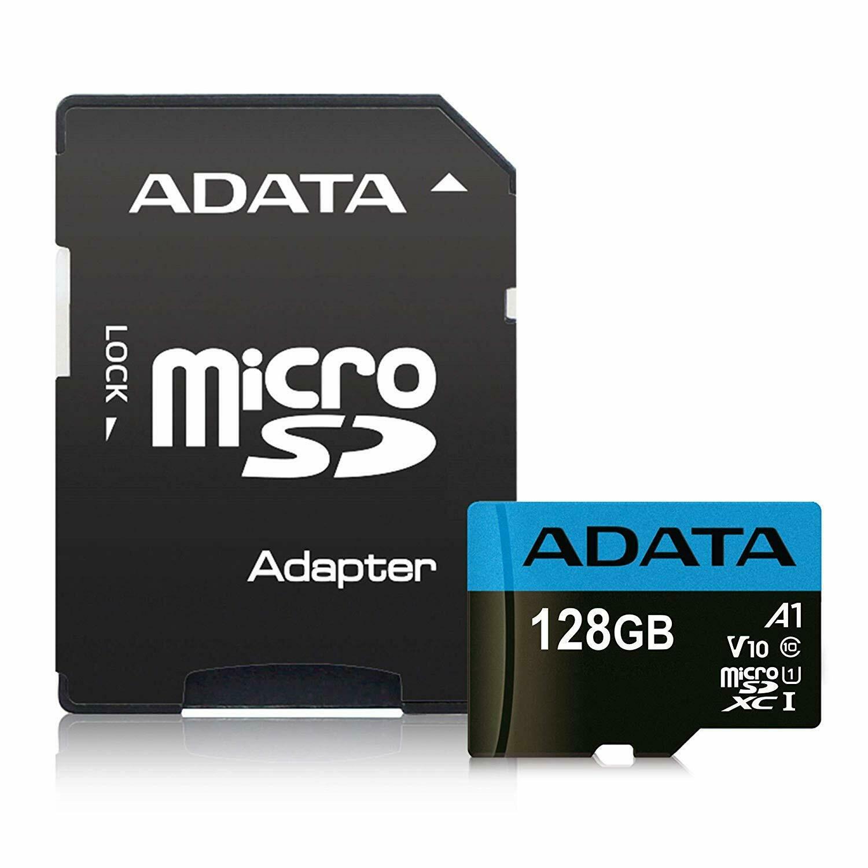 Cartão de Memória Adata MicroSDXC 128 GB Classe 10 com Adaptador - AUSDX128GUICL10A1-RA1
