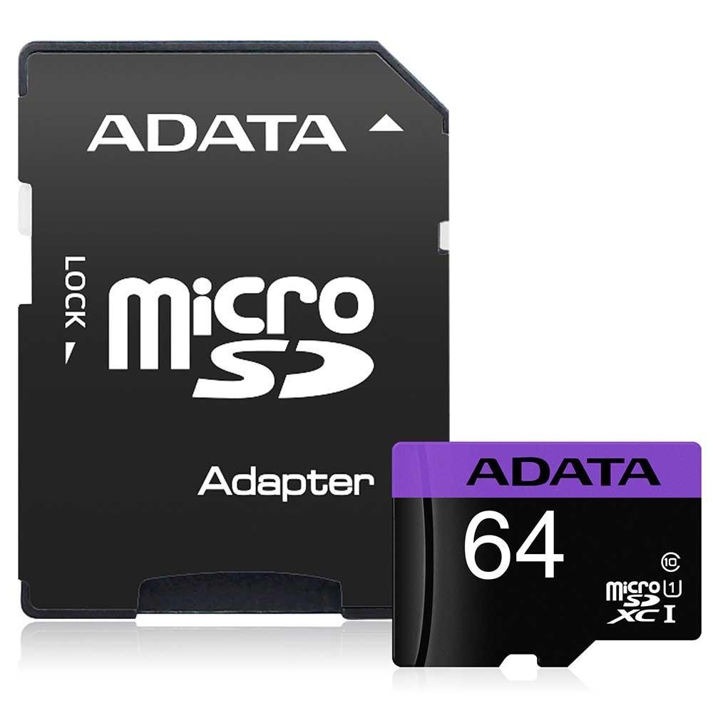 Cartão de Memória Adata MicroSDXC 64 GB Classe 10 com Adaptador - AUSDX64GUICL10-RA1