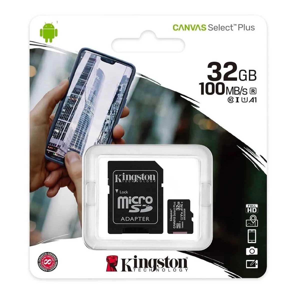 Cartão De Memória Micro Sd 32gb Classe 10 100mb/s Kingston - SDCS2/32GB