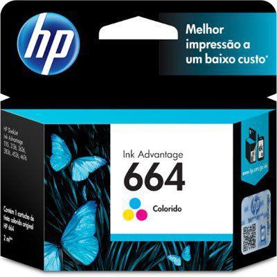 Cartucho HP 664 Colorido Impressora Deskjet Ink Advantage 1115 2136 3636