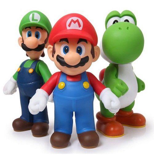 Coleção Super Mario Bros 3 personagens Mario Luigi Yoshi de PVC 11-12cm
