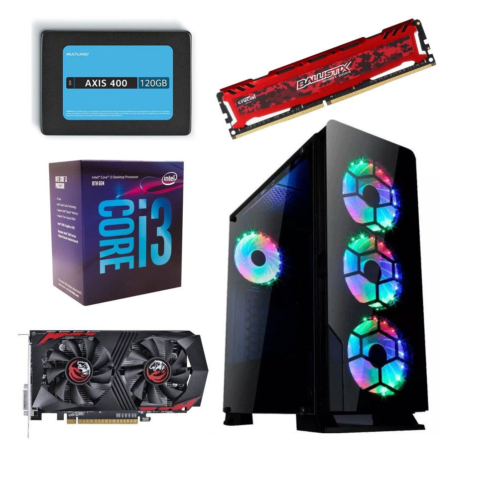 Computador CPU Diamond RGB Gamer Intel Core i3 8100 3.6GHZ 8GB DDR4 SSD 120GB + HD 500GB GTX1050Ti 4GB