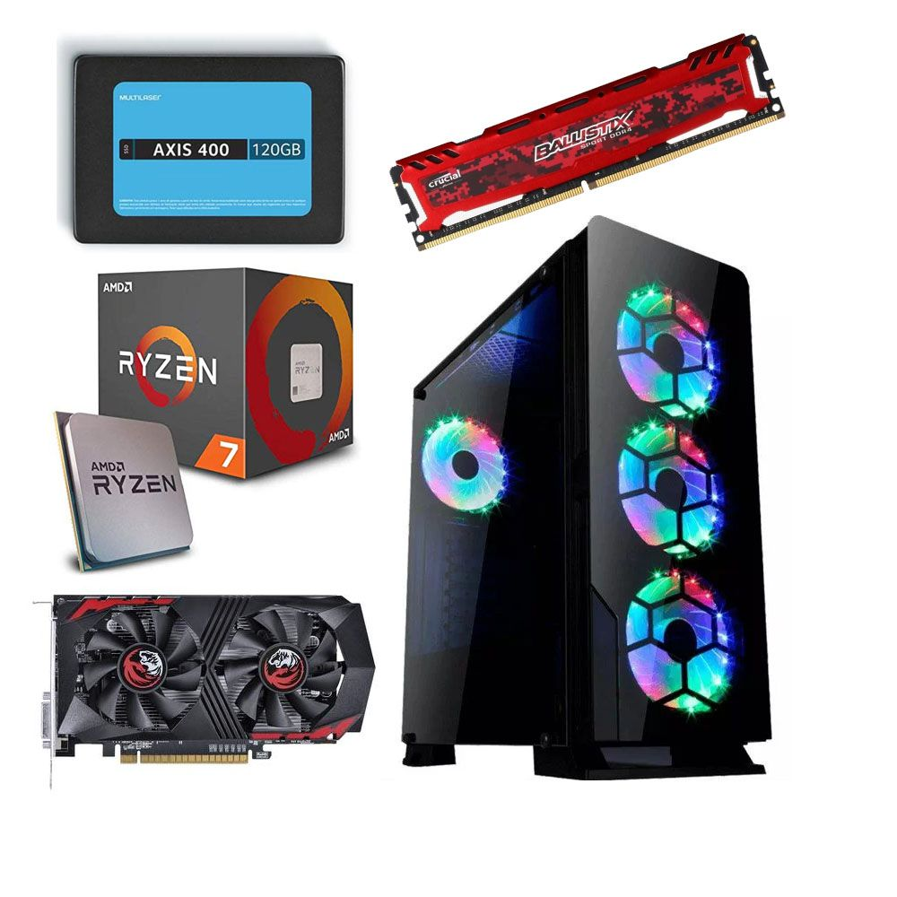 Computador CPU Diamond RGB Gamer AMD Ryzen 7 2700 3.2GHZ 8GB DDR4 SSD 120GB + HD 500GB GTX1050Ti 4GB
