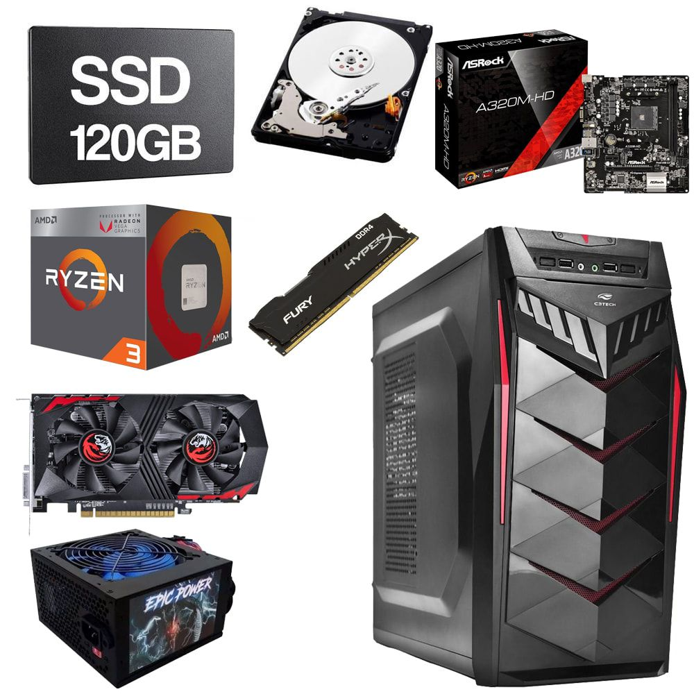 Computador Gamer CPU Amd Ryzen 3 2200G 3.5GHZ 8GB DDR4 SSD 120GB HD 1TB GTX1050 2GB
