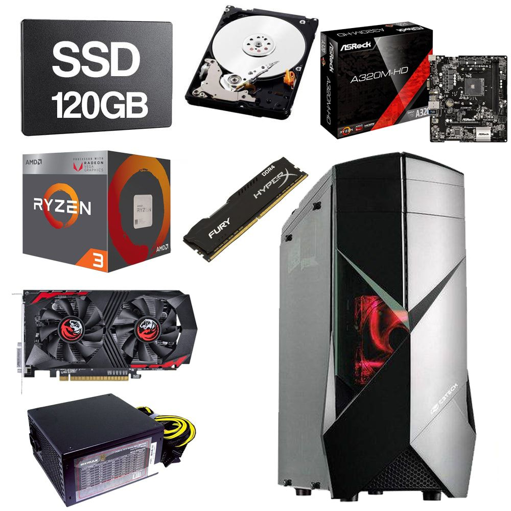Computador Gamer CPU Amd Ryzen 3 2200G 3.5GHZ 8GB DDR4 SSD 120GB HD 1TB GTX1050TI 4GB