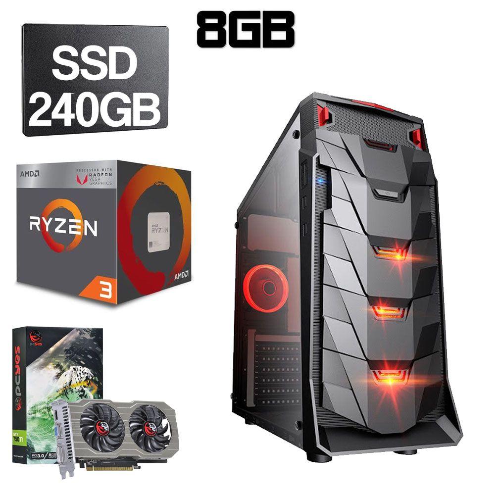 Computador Gamer CPU Amd Ryzen 3 2200G 3.5GHZ 8GB DDR4 SSD 240GB 750TI 2GB