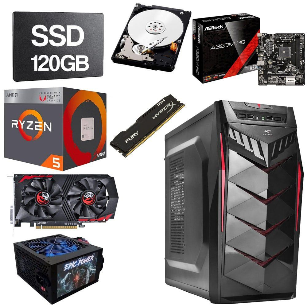 Computador Gamer CPU Amd Ryzen 5 2400G 3.5GHZ 8GB DDR4 SSD 120GB HD 1TB GTX1050Ti 4GB