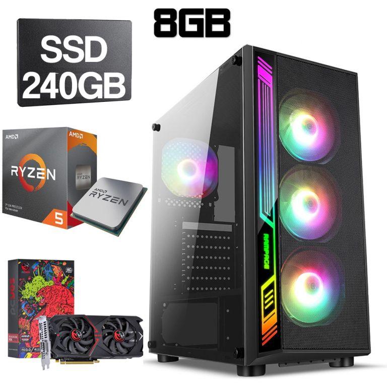 Computador Gamer CPU Amd Ryzen 5 3600 3.6GHZ 8GB DDR4 SSD 240GB RX 570 4GB