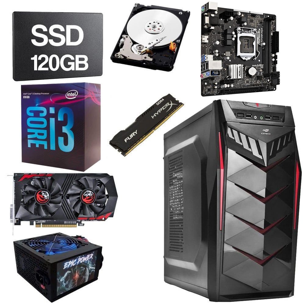 Computador Gamer CPU Intel Core i3 8100 3.6GHZ 8GB DDR4 SSD 120GB HD 1TB GTX1050 2GB