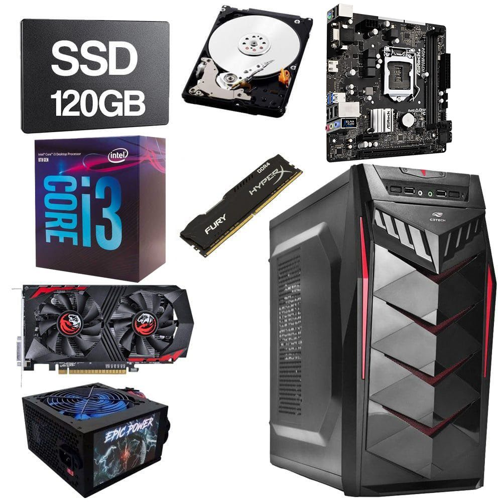 Computador Gamer CPU Intel Core i3 8100 3.6GHZ 8GB DDR4 SSD 120GB HD 1TB GTX1050Ti 4GB