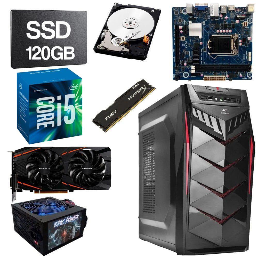 Computador Gamer CPU Intel Core i5 6400 2.7GHZ 8GB DDR4 SSD 120GB HD 1TB RX 570 4GB