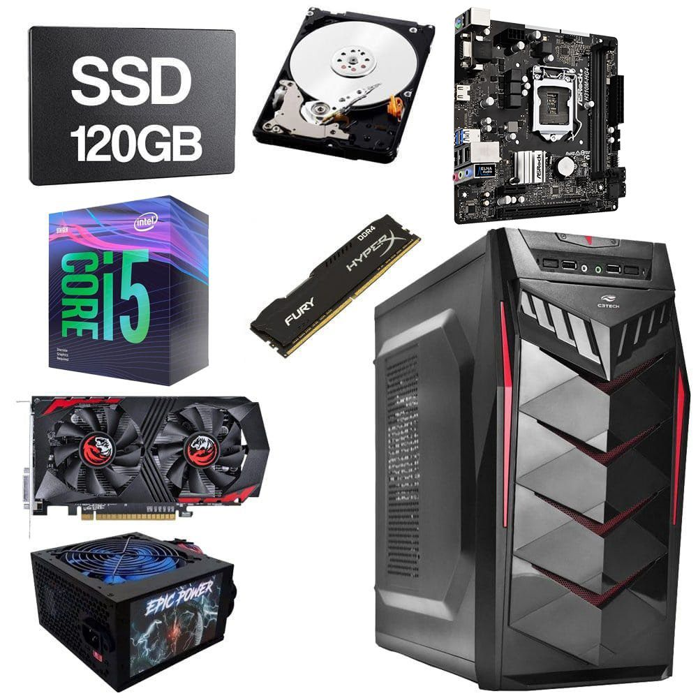 Computador Gamer CPU Intel Core i5 9400F 2.90GHZ 8GB DDR4 SSD 120GB HD 1TB GTX1050 2GB