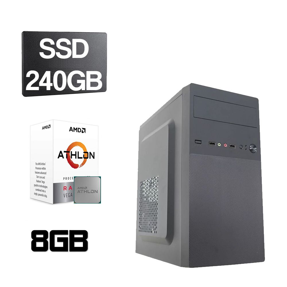 Computador Home CPU AMD Athlon 3000G 3.5GHz 8GB DDR4 SSD 240GB