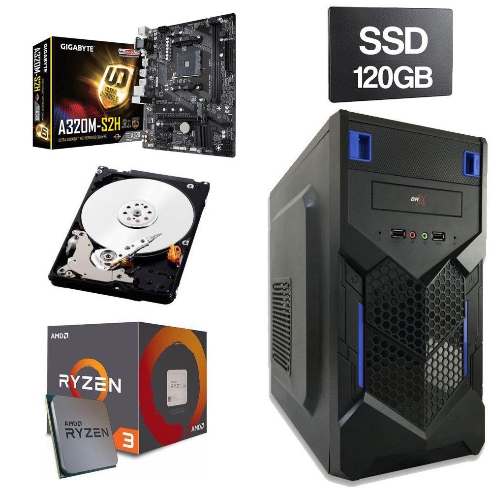 Computador Home  CPU AMD Ryzen 3 2200G 3.5GHz 8GB DDR4 SSD 120GB HD 1TB