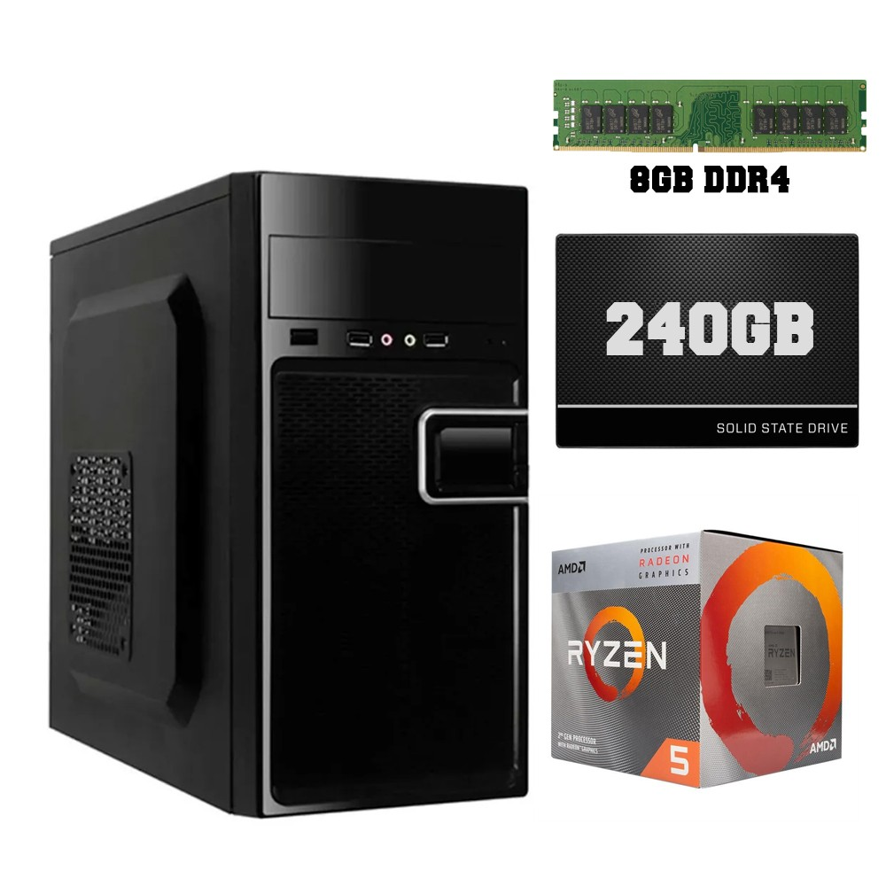 Computador Home CPU AMD Ryzen 5 3400G 3.7GHz 8GB DDR4 SSD 240GB