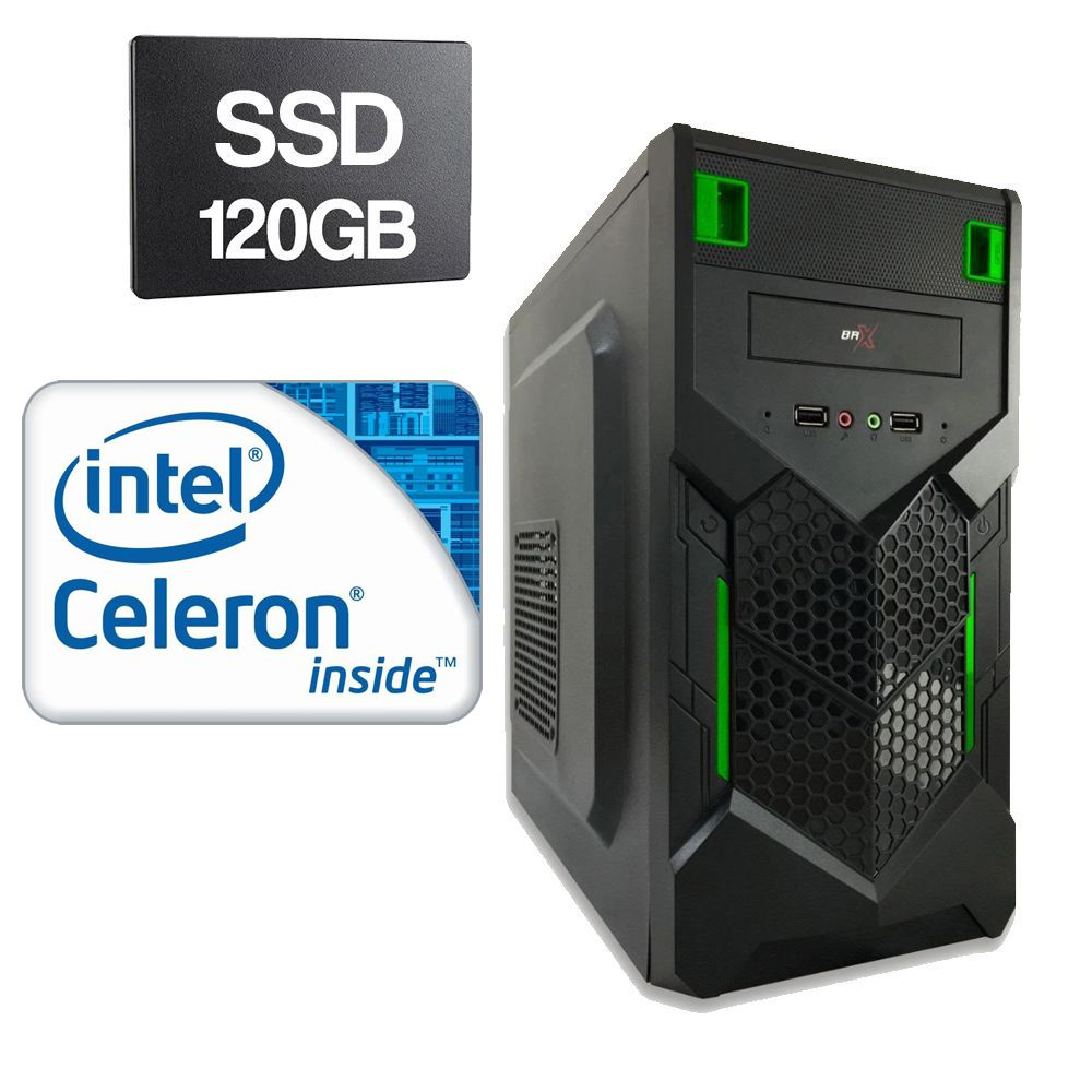Computador Home CPU Intel Celeron G1620 2.7 GHz 4GB DDR3 SSD 120GB
