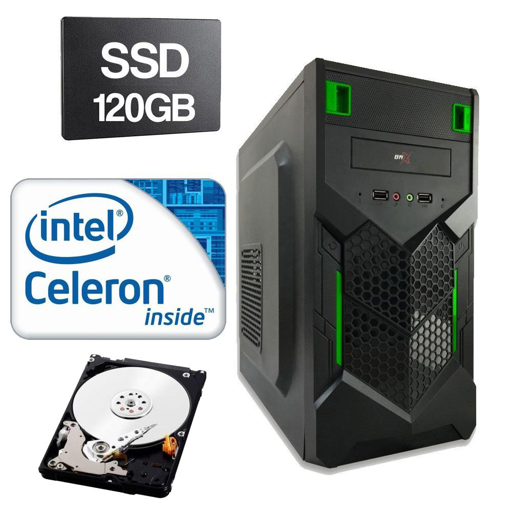 Computador Home CPU Intel Celeron G1620 2.7 GHz 4GB DDR3 SSD 120GB HD 320GB
