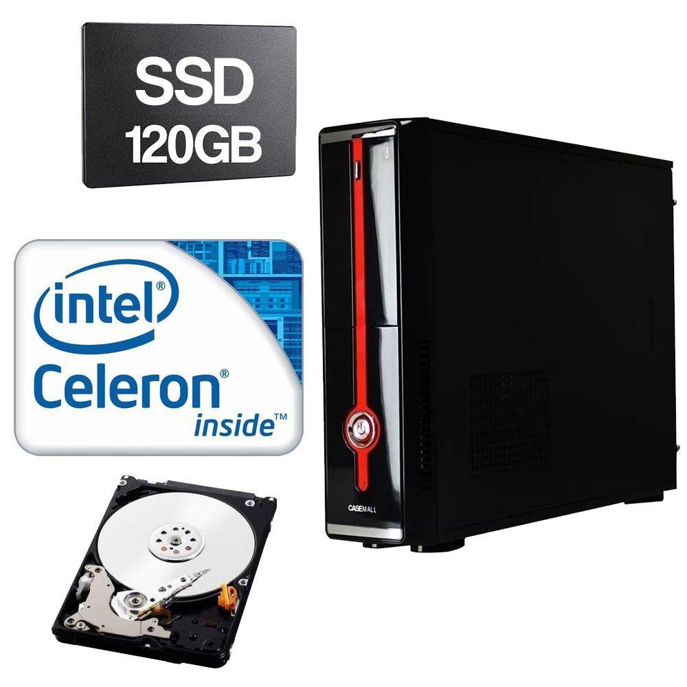 Computador Slim Home CPU Intel Celeron G1620 2.7 GHz 4GB DDR3 SSD 120GB HD 320GB