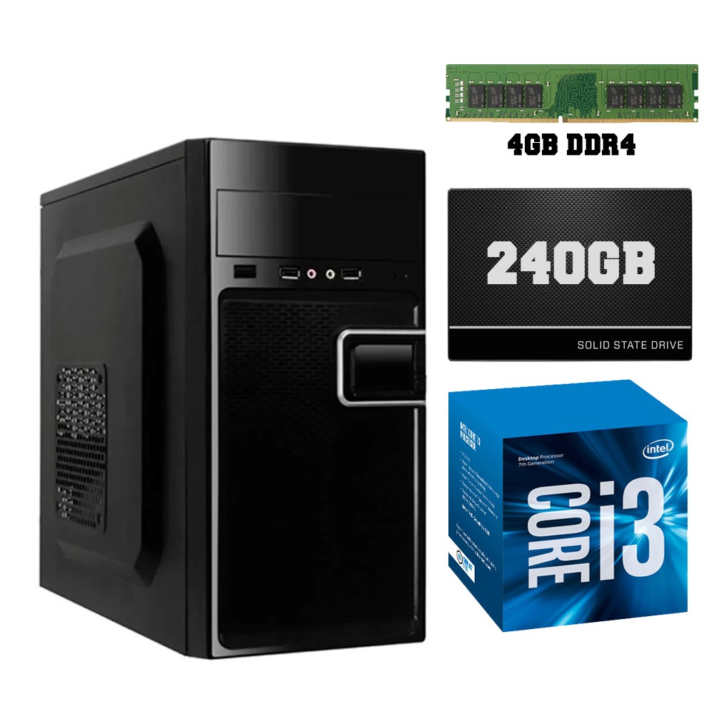 Computador Home CPU Intel Core I3 7100 3.9GHz 4GB DDR4 SSD 240GB