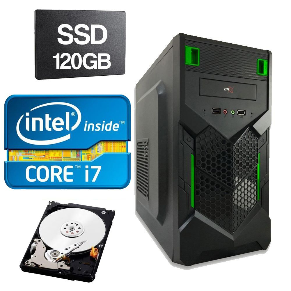 Computador Home CPU Intel Core I7 3770 3.4GHZ 4GB DDR3 SSD 120GB HD 320GB