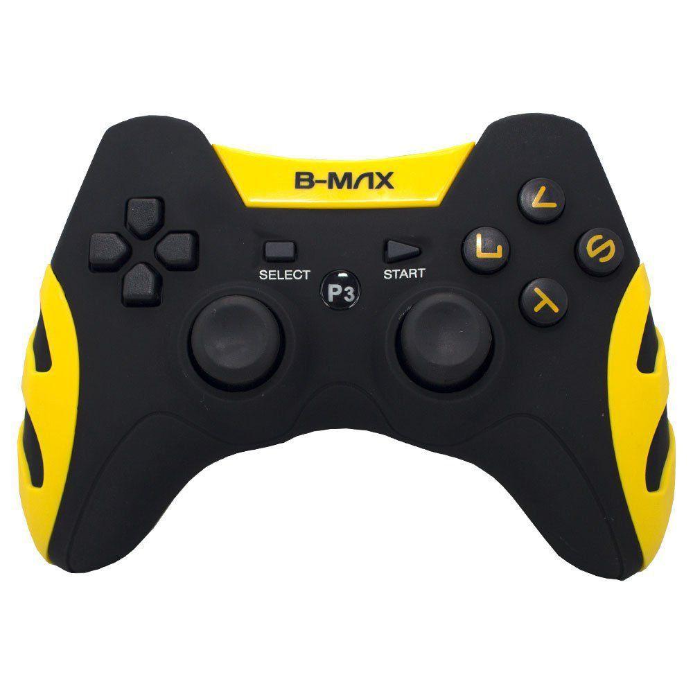 Controle Dualshock 2x1 Ps3 Pc C/ Fio BM-028 Amarelo