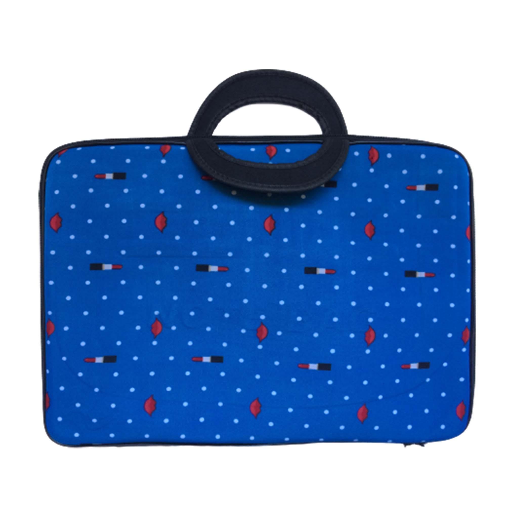 Pasta Maleta Anti-Impacto MZ Slim Case Com Alça e Ziper P/ Notebook 14, 15, 15,6 Pol. - Azul com Bolinhas Brancas Batom e Boca vermelha