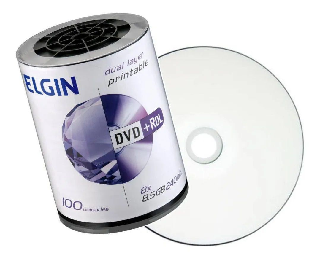 Dvd+r Dl Elgin 8.5Gb Dual Layer Printable 100 Unidades