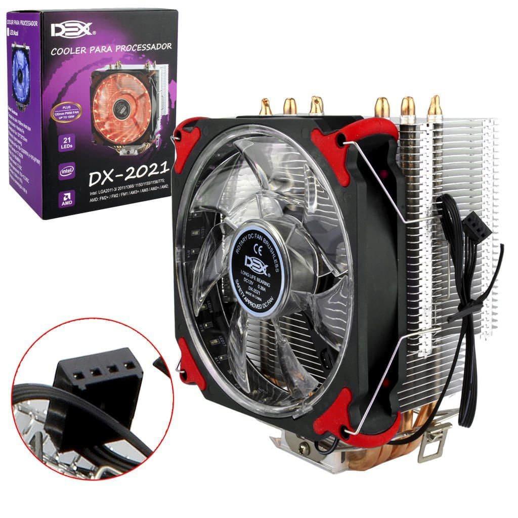 Cooler para Processador Universal Intel e AMD DX-2021 2011 1155 1151 Am3+ Am4 DEX Vermelho