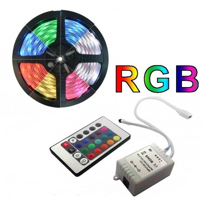 Fita de LED Colorida RGB Rolo 5 Metros  C/ Fonte 12V e Controle