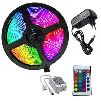Fita de Led Strip Rgb Light Kits 5 Metros 12V C/ Controle e fonte- 3528RGB