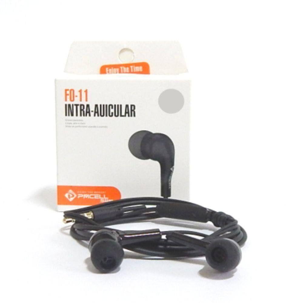 Fone De Ouvido Auricular c/ microfone Preto FO-11