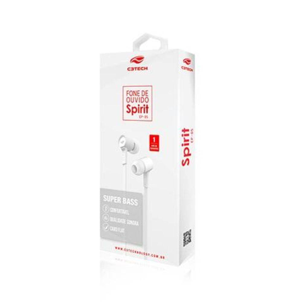 Fone de Ouvido C3 Tech Intra-auricular Spirit Branco Ep-05wh
