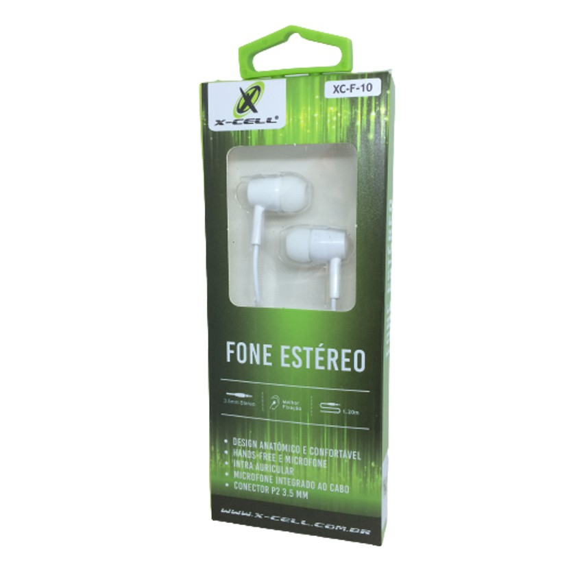 Fone de Ouvido C/Microfone Estéreo Extra Bass X-Cell P2 3.5MM Branco - XC-F-10