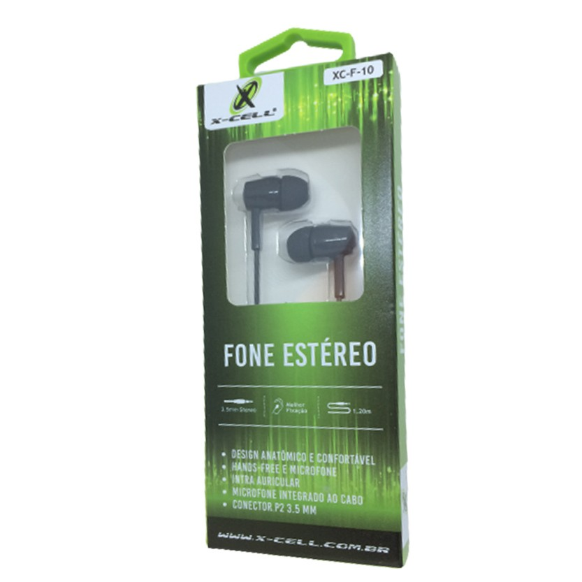 Fone de Ouvido C/Microfone Estéreo Extra Bass X-Cell P2 3.5MM Preto - XC-F-10